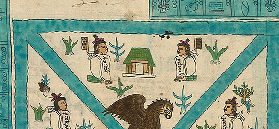 Temple detail, Frontispiece, Codex Mendoza, Viceroyalty of New Spain, c. 1541–1542, pigment on paper © Bodleian Libraries, University of Oxford
