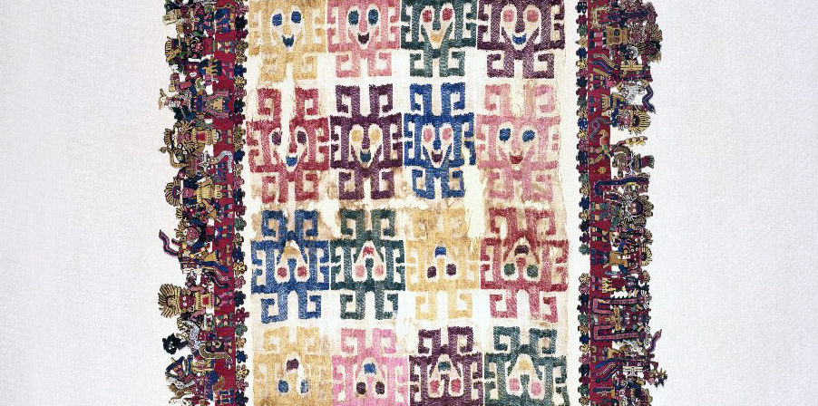 "Center detail, Nasca, Mantle (""The Paracas Textile""), 100-300 C.E., cotton, camelid fiber, 58-1/4 x 24-1/2 inches / 148 x 62.2 cm, found south coast, Paracas, Peru (Brooklyn Museum)"