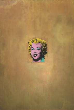 "Andy Warhol, Gold Marilyn Monroe, 1962, silkscreen on canvas, 6' 11 1/4"" x 57"" (211.4 x 144.7 cm) (Museum of Modern Art, New York)"