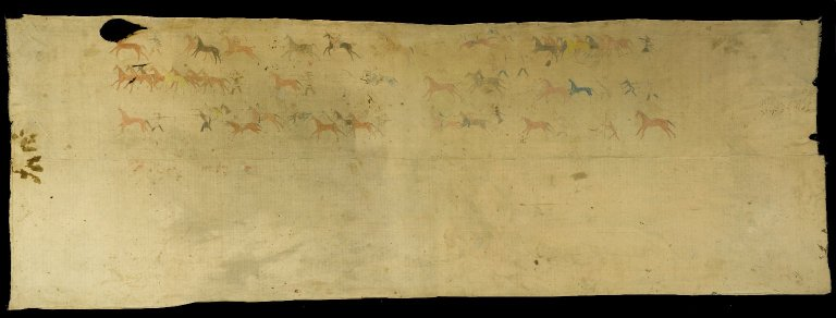 Rain-In-The-Face (Hunkpapa, Lakota, Sioux), Tipi Liner, 1850-1889, cotton, pigment, crayon, pencil, 512.9 x 171.9 cm (Brooklyn Museum)