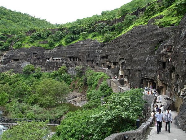 The Caves at Ajanta, India, c. 200 B.C.E. - 650 C.E. (public domain)