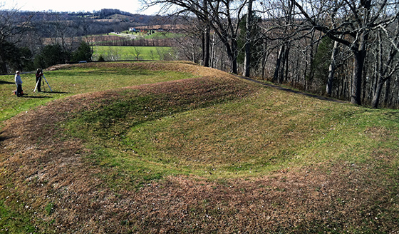 View of the Great Serpent Mound, 1070(?), Adams County, Ohio (photo: Katherine T. Brown)