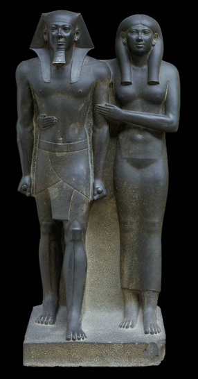 King Menkaure (Mycerinus) and queen, 2490-2472 B.C.E., Greywacke, overall: 142.2 x 57.1 x 55.2 cm, 676.8 kg / 56 x 22 1/2 x 21 3/4 inches, 1492.1 pounds (Museum of Fine Arts, Boston)