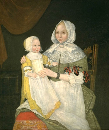 Freake painter, Elizabeth Clarke Freake (Mrs. John Freake) and Baby Mary, c. 1671 and 1674, oil on canvas, 42 1/2 x 36 3/4 inches / 108 x 93.3 cm (Worcester Art Museum)