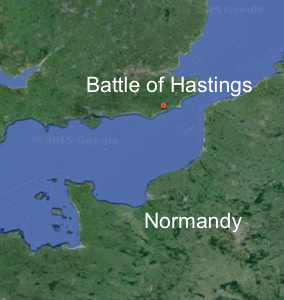 Map showing the coasts of Normandy and England