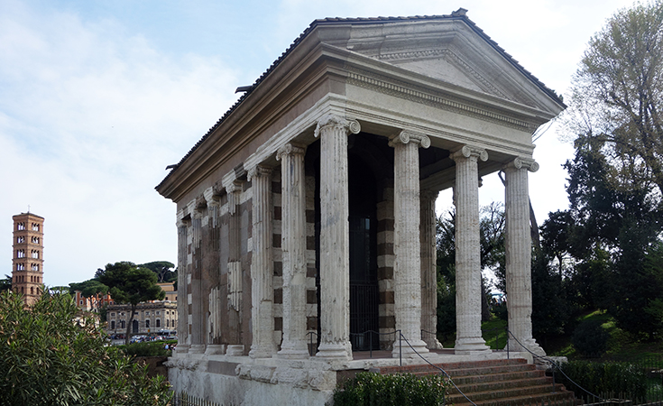 Temple of Portunus (formerly known as Fortuna Virilis), travertine, tufa, and stucco, c. 120-80 B.C.E., Rome