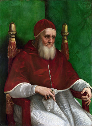 Raphael, Portrait of Pope Julius II, 1511, oil on panel, 108.7 x 81 cm (The National Gallery, London)
