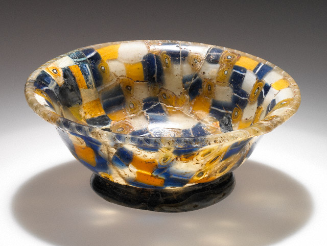 "Cup with Blue, WHite, and Yellow Canes, Greek, 100-1 B.C.E., 1 1/2"" x 4 1/16"" diameter, (The J. Paul Getty Museum)"