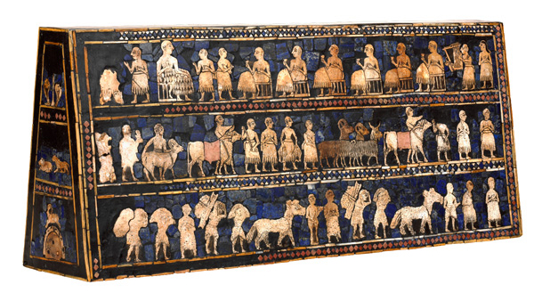 The Standard of Ur, 2600-2400 B.C.E., shell, red limestone, lapis lazuli, and bitumen (original wood no longer exists), 21.59 x 49.53 x 12 cm