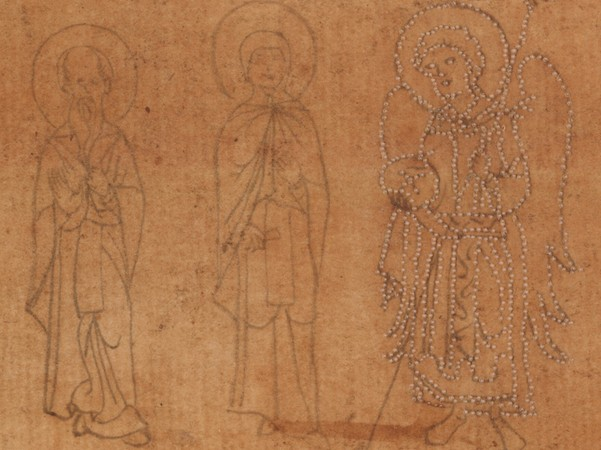 Outline drawings from a pattern book, Yale, Beinecke MS 553, 1400-1600