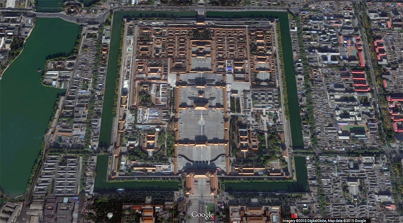 Aerial view of the Forbidden City, Beijing Google Earth ©2015 Google