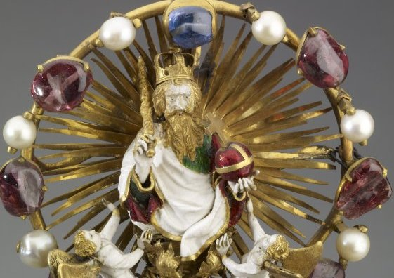 God the father (detail), Holy Thorn Reliquary of Jean, duc de Berry, before 1397, gold, enamel, rock crystal, pearls, rubies, sapphires, 30 x 14.2 x 6.8 cm, © Trustees of the British Museum.