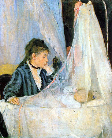 Berte Morisot, The Cradle, 1872, oil on canvas, 56 x 46 cm (Musée d'Orsay, Paris)