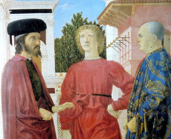 Three men in foreground (detail), Piero della Francesca, Flagellation of Christ, c. 1455-65, oil and tempera on wood, 58.4 × 81.5 cm (Galleria Nazionale delle Marche, Urbino)