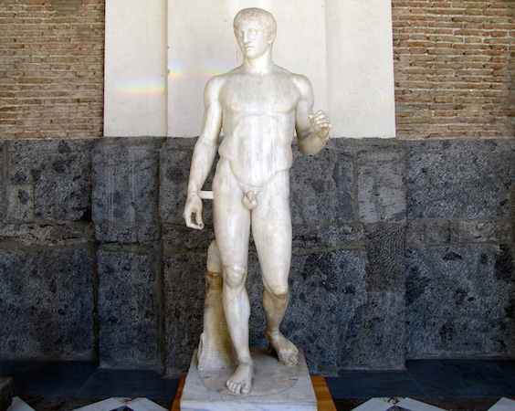 Polykleitos, Doryphoros (Spear-Bearer) or Canon, Roman marble copy of a Greek bronze, c. 450-440 BCE (Museo Archaeologico Nazionale, Naples)