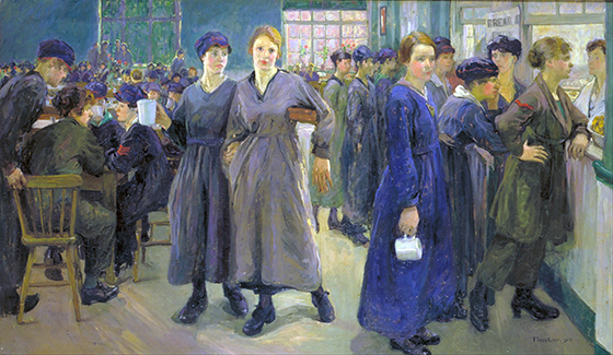 Flora Lion, Women's Canteen at Phoenix Works, Bradford, 1918, oil on canvas, 106.6 x 182.8 mm (Imperial War Museum, London)
