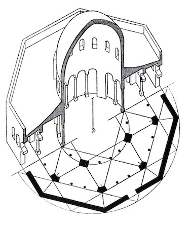 K.A.C. Creswell, Sectional axonometric view through dome, ©Creswell Archive, Ashmolean Museum, Image courtesy of Fine Arts Library, Harvard College Library