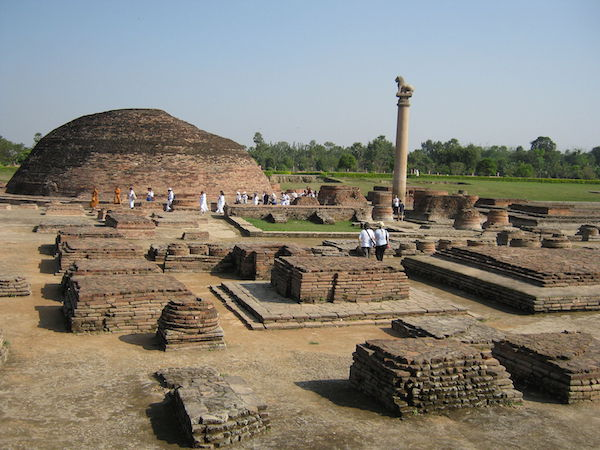 An example of the monastic center at Vaishali, one can still see the remains of one of several stupas, the Ashokan pillar and the later addition of the monks' cells and the administrative center, photo: Abhishek Singh