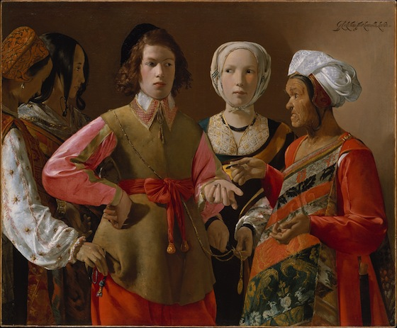 Georges de La Tour, The Fortune Teller, probably 1630s, oil on canvas, 101.9 x 123.5 cm (Metropolitan Museum of Art)