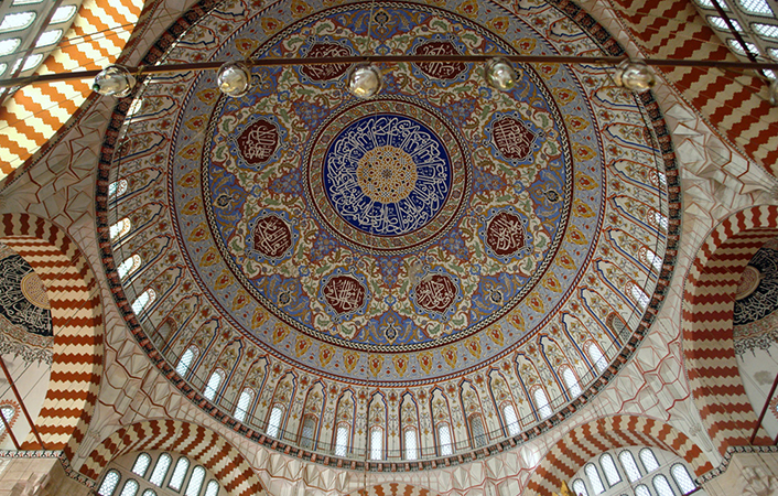 Dome interior, Sinan, Mosque of Selim II, Edirne, Turkey, 1568–1575 (photo: CharlesFred, CC BY-NC-SA 2.0) https://flic.kr/p/5vZY6Q