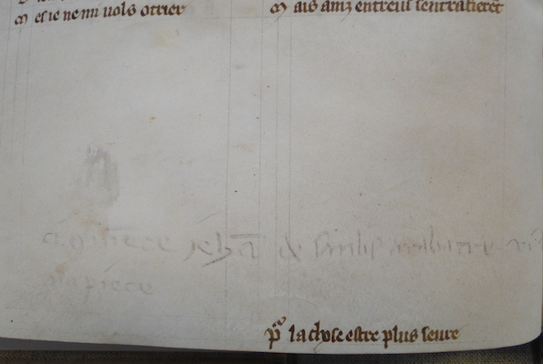 "Marginal note in pencil regarding payment to the professional scribe Jehan de Sanlis, ""ci (com)me(n)ce Jeha(n) de Sanlis a ratable VI d. a la piece"" (Jehan de Sanlis made this for 6 pence per quire), The Hague, Royal Library, MS 71 A 24, 13th century"