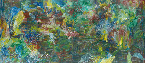 Emily Kame Kngwarreye, Earth's Creation, 1994, synthetic polymer paint on linen mounted on canvas, four panels (private collection)