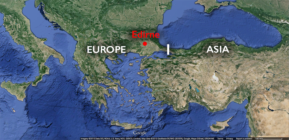 Map showing location of Edirne in modern Turkey