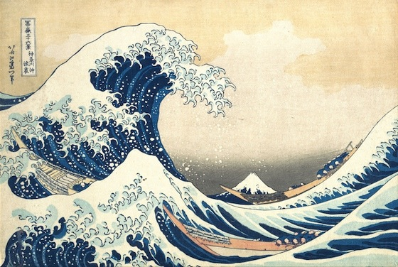 "Katsushika Hokusai, Under the Wave off Kanagawa (Kanagawa oki nami ura), also known as The Great Wave, from the series Thirty-six Views of Mount Fuji (Fugaku sanjūrokkei), c. 1830-32, polychrome woodblock print; ink and color on paper, 10 1/8 x 14 15 /16"" / 25.7 x 37.9 cm (The Metropolitan Museum of Art, New York)"