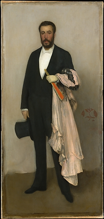 James Abbott McNeil Whistler, Arrangement in Flesh Color and Black: Portrait of Théodore Duret, 1883, oil on canvas, 193.4 x 90.8 cm (The Metropolitan Museum of Art, New York)