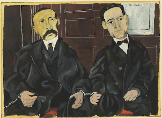 Ben Shahn, Bartolomeo Vanzetti and Nicola Sacco, 1931-32, gouache on paper on board, 10 7/8 x 14 5/8 inches / 27.6 x 37.1 cm (The Museum of Modern Art)