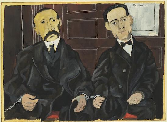 Ben Shahn, Bartolomeo Vanzetti and Nicola Sacco, 1931-32, gouache on paper on board, 10 7/8 x 14 5/8 inches / 27.6 x 37.1 cm (The Museum of Modern Art)