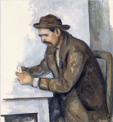 "Paul Cézanne, The Cardplayer, 1890-92, oil on canvas, 46 x 50 cm (Musée d'Orsay, Paris). This study ""shows a card player who features in the two largest versions, but in a reversed position (Merion, Barnes Foundation; New York, The Metropolitan Museum of Art)"" (source)"