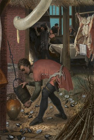 "Tavern scene (detail), Pieter Aertsen, A Meat Stall with the Holy Family Giving Alms, 1551, oil on panel, 45 1/2 x 66 1/2"" / 115.6 x 168.9 cm (North Carolina Museum of Art)"