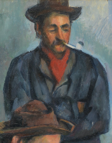 Standing figure (detail), Paul Cézanne, The Card Players, 1890-92, oil on canvas, 65.4 x 81.9 cm (The Metropolitan Museum of Art)