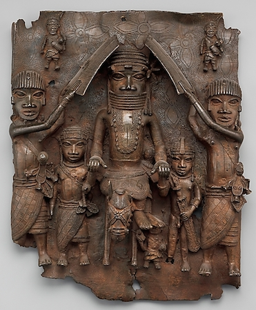 Plaque: Equestrian Oba and Attendants, Edo peoples (Benin Kingdom), 1550–1680, brass, H. 19 7/16 x W. 16 1/2 x D. 4 1/2 in. /49.5 x 41.9 x 11.4 cm (Metropolitan Museum of Art)