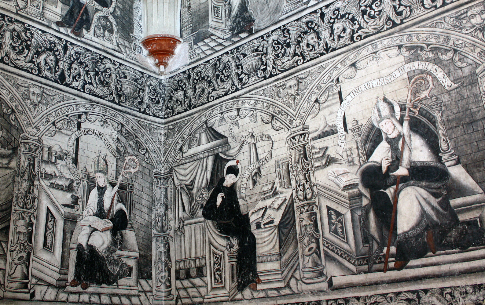 Augustinian heroes (esteemed figures) at desks (detail), stairway murals, Convent of San Nicolás Tolentino, 1546 and after, Actopan, Hidalgo, Mexico (photo: linkogecko, CC BY-NC-ND 2.0)