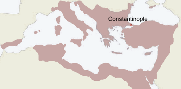 The Byzantine Empire near its peak under the Emperor Justinian, c. 550 C.E.