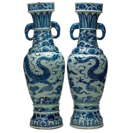The David Vases, Jiangxi province, Yuan dynasty, 63.6 x 20.7 cm