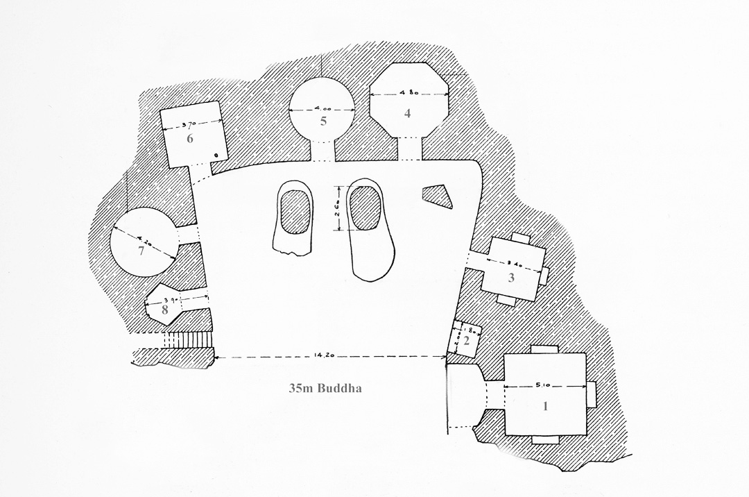 Plan of larger Buddha showing feet carved in the round and smaller cave chapels (Godard, Godard, and Hackin,Les Antiquites Bouddhiques de Bamiyan, Paris and Brussels: les Editions G. Van Oest, 1928, fig. 18