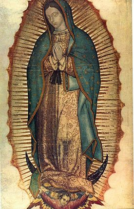 Virgin of Guadalupe, 16th century, oil and possibly tempera on maguey cactus cloth and cotton (Basilica of Guadalupe, Mexico City)