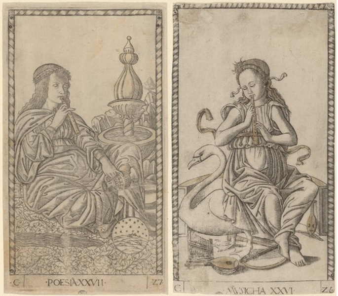 Left: Poetry, right: Music, Tarocchi, c. 1465 (from the area of Ferrara), engraving with traces of gilding (National Gallery of Art, Washington D.C.)