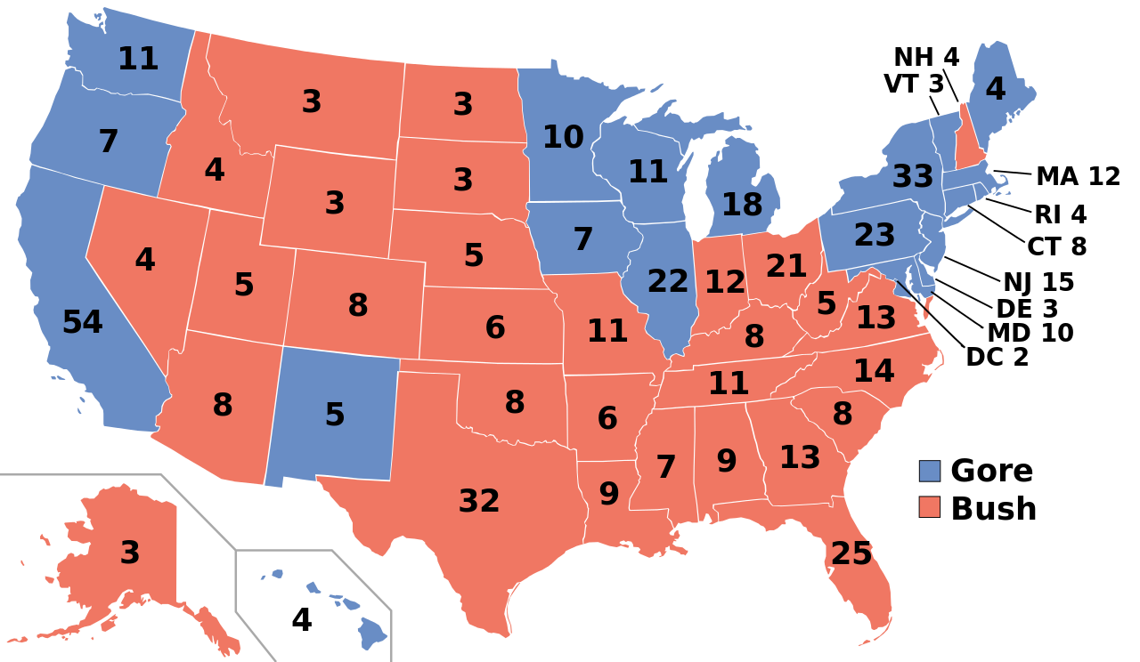 the election of  (article)  khan academy - map of the united states showing the number of electoral votes at stake ineach state colored red or blue according to whether bush (red) or gore(blue)
