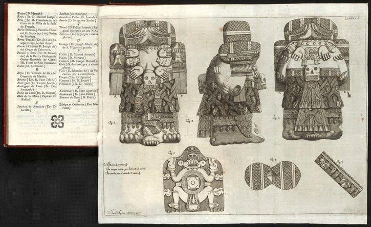 Image published in Antonio León y Gama's 1792 book, Descripción histórica y cronológica de las dos piedras que con ocasión del nuevo empedrado que se está formando en la plaza principal de México, se hallaron en ella el año de 1790