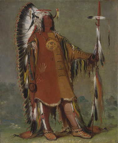 George Catlin, Máh-to-tóh-pa, Four Bears, Second Chief, in Full Dress, 1832, oil on canvas (Smithsonian American Art Museum, Washington, D.C.)