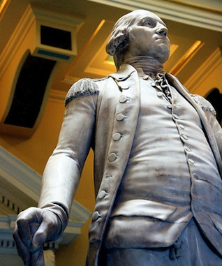 "Washington looking to his left in his military uniform (detail), Jean-Antoine Houdon, George Washington, 1788-92, marble, 6' 2"" high, State Capitol, Richmond, Virginia, (photo: Holley St. Germain, CC BY-NC-SA 2.0)"