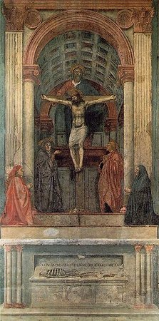 Masaccio, Holy Trinity, c. 1427, fresco (Santa Maria Novella, Florence)