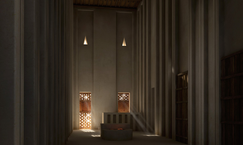 "Interior view of the two-story version of the ""White Temple,"" Digital reconstruction of the White Temple, Uruk (modern Warka), c, 3517-3358 B.C.E. © artefacts-berlin.de; Scientific material: German Archaeological Institute"