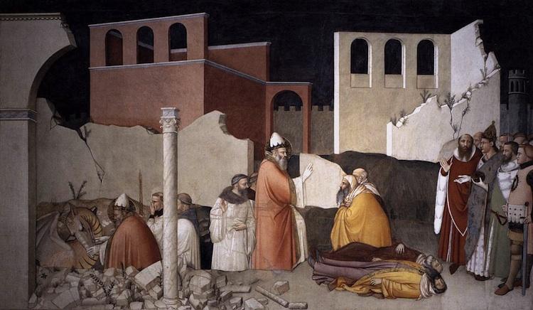 Maso di Banco, Pope Sylvester's Miracle, c. 1340 (Bardi Chape, Santa Croce, Florence)  Maso di Banco, Pope Sylvester's Miracle, c. 1340 (Bardi Chape, Santa Croce, Florence)