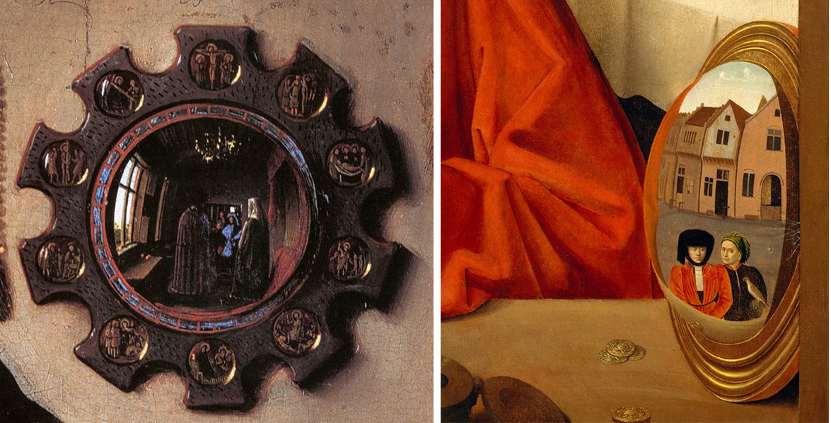 Left: Mirror, Jan Van Eyck, Arnolfini Portrait, 1434 (detail); right: Mirror and still-life (detail), Petrus Christus, A Goldsmith in his Shop, 1449
