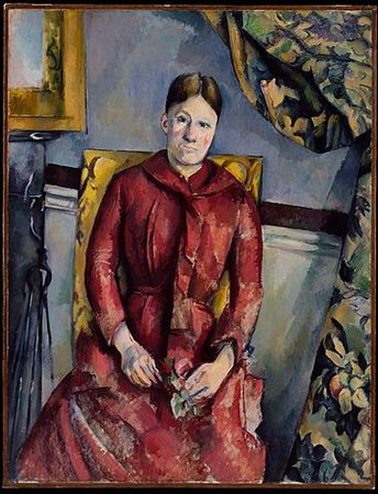 Paul Cézanne, Madame Cézanne (Hortense Fiquet, 1850–1922) in a Red Dress, 1888-90, oil on canvas, 116.5 x 89.5 cm (The Metropolitan Museum of Art, New York)